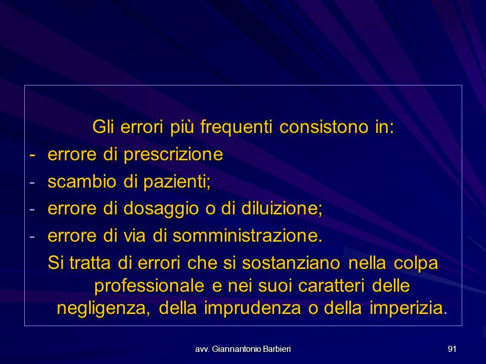 avv. Giannantonio Barbieri 91 Gli errori più frequenti consistono in: - errore di prescrizione - scambio di pazienti; - errore di dosaggio o di diluiz