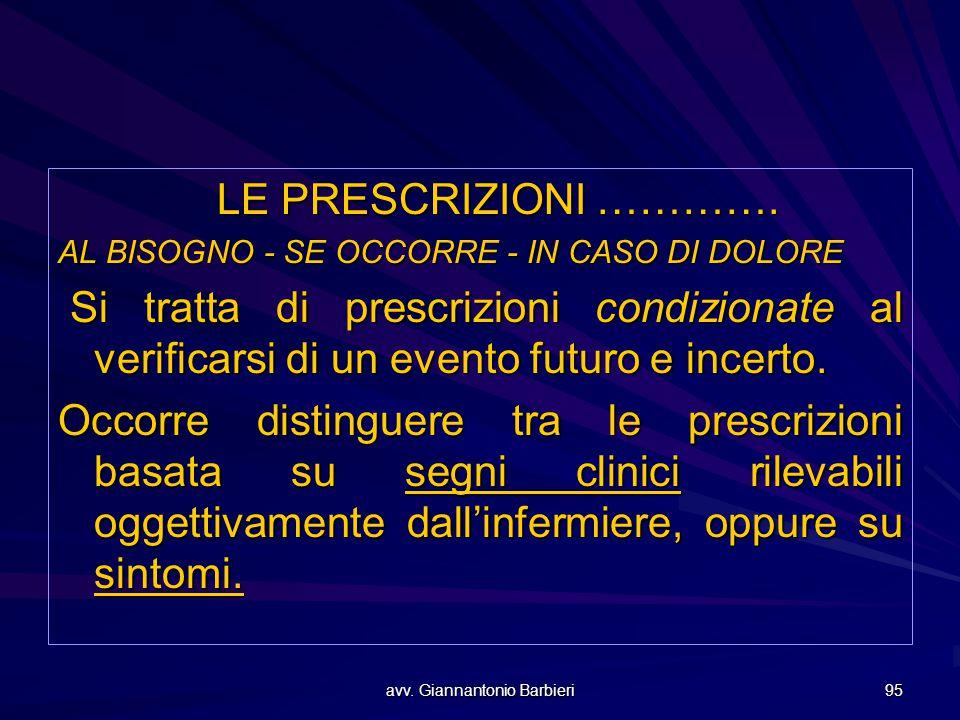 avv. Giannantonio Barbieri 95 LE PRESCRIZIONI …………. AL BISOGNO - SE OCCORRE - IN CASO DI DOLORE Si tratta di prescrizioni condizionate al verificarsi