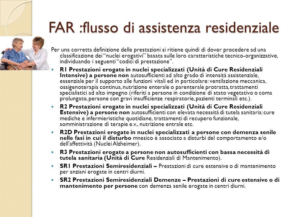 FAR :flusso di assistenza residenziale Per una corretta definizione delle prestazioni si ritiene quindi di dover procedere ad una classificazione dei