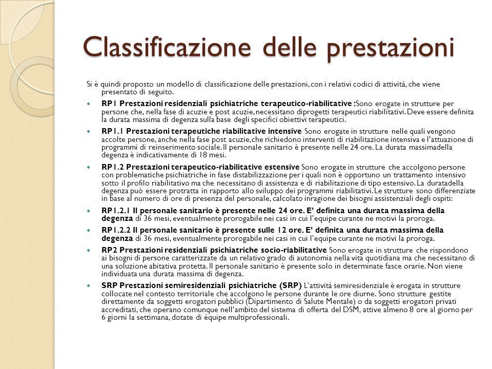 Classificazione delle prestazioni Si è quindi proposto un modello di classificazione delle prestazioni, con i relativi codici di attività, che viene p