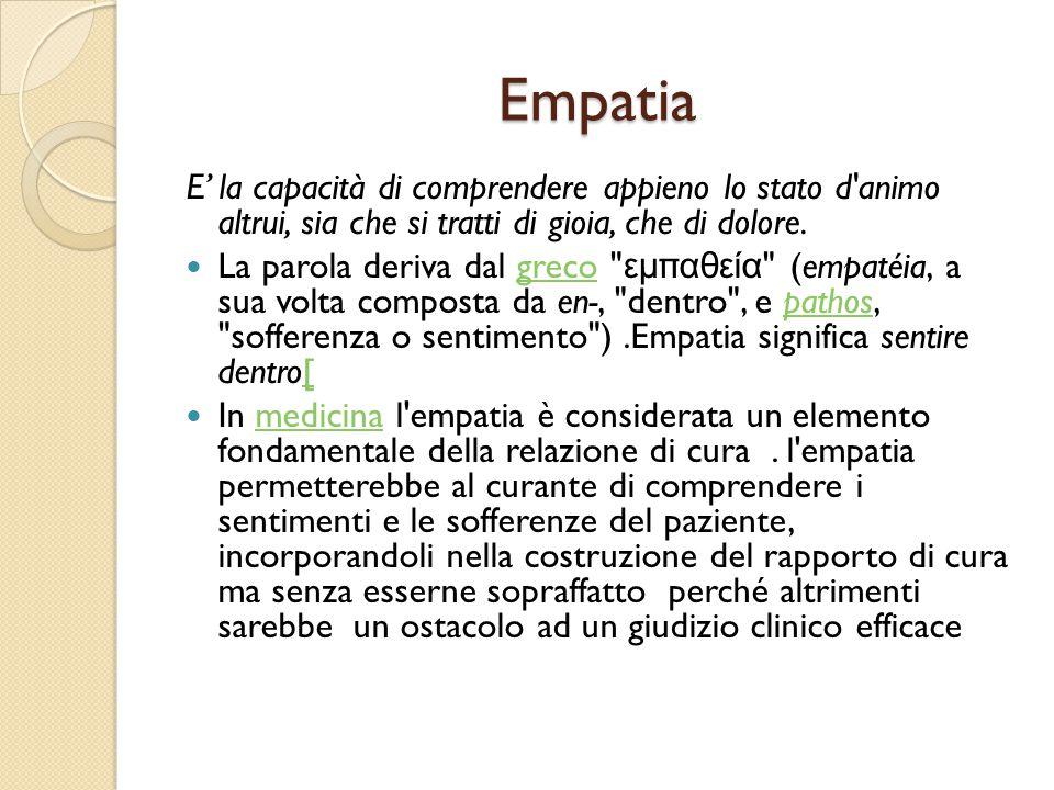 Empatia E' la capacità di comprendere appieno lo stato d'animo altrui, sia che si tratti di gioia, che di dolore. La parola deriva dal greco