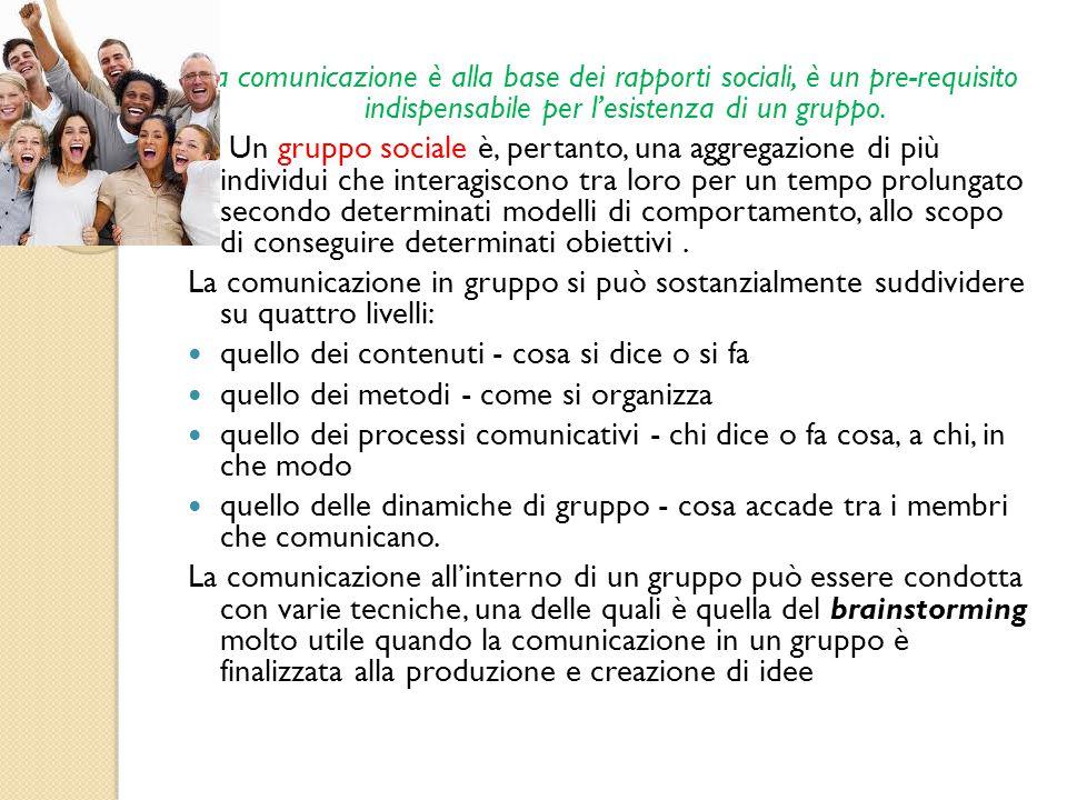 La comunicazione è alla base dei rapporti sociali, è un pre-requisito indispensabile per l'esistenza di un gruppo. Un gruppo sociale è, pertanto, una