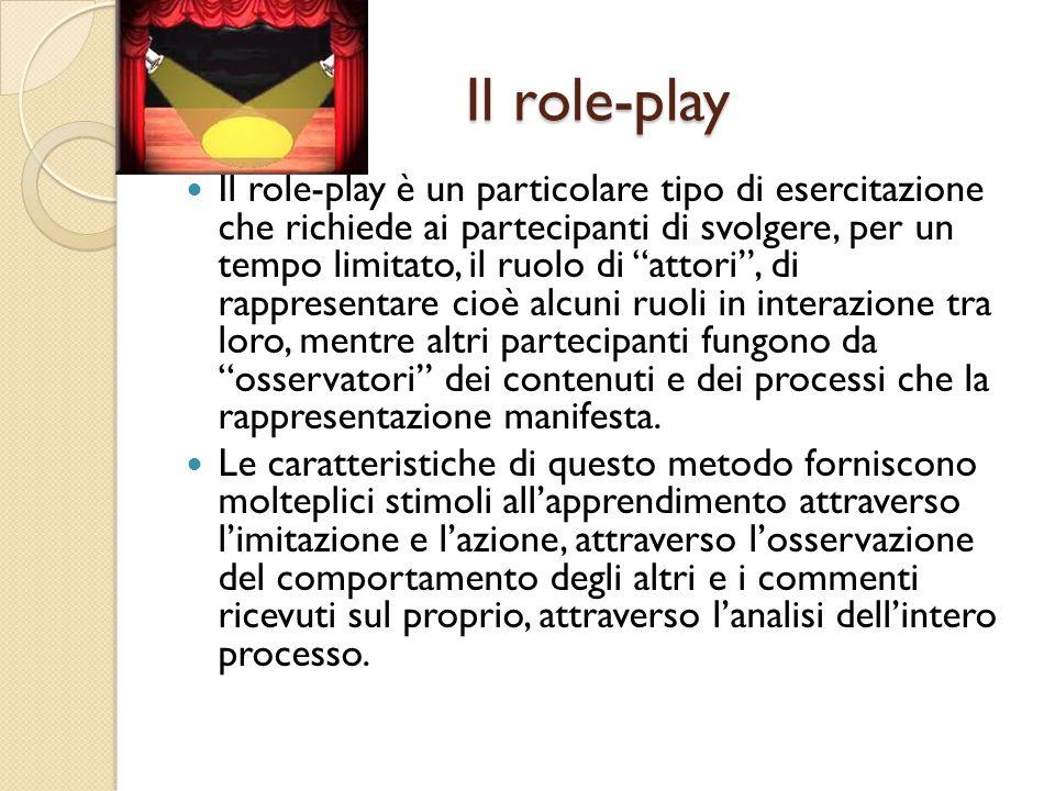"""Il role-play Il role-play è un particolare tipo di esercitazione che richiede ai partecipanti di svolgere, per un tempo limitato, il ruolo di """"attori"""""""