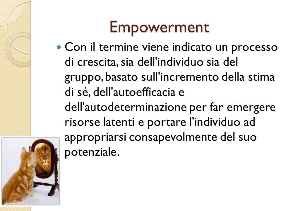 Empowerment Con il termine viene indicato un processo di crescita, sia dell'individuo sia del gruppo, basato sull'incremento della stima di sé, dell'a