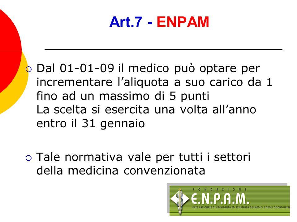 Art.7 - ENPAM  Dal 1 gennaio 2008 il contributo previdenziale è rideterminato al 16,50% (vecchio ACN 15,00%)  10,375 a carico dell'azienda (vecchio ACN 9,375)  6,125 a carico del medico (vecchio ACN 5,625)
