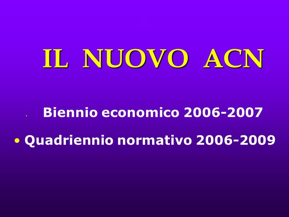IL NUOVO ACN IL NUOVO ACN Biennio economico 2006-2007 Quadriennio normativo 2006-2009