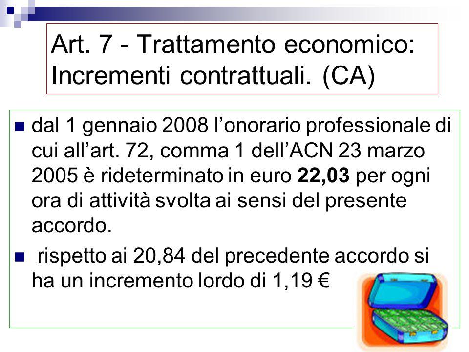 Art. 7 - Trattamento economico: Incrementi contrattuali. (CA) compenso una tantum, per ogni ora di attività svolta anno 2006 > 0,08 €/ora anno 2007 >
