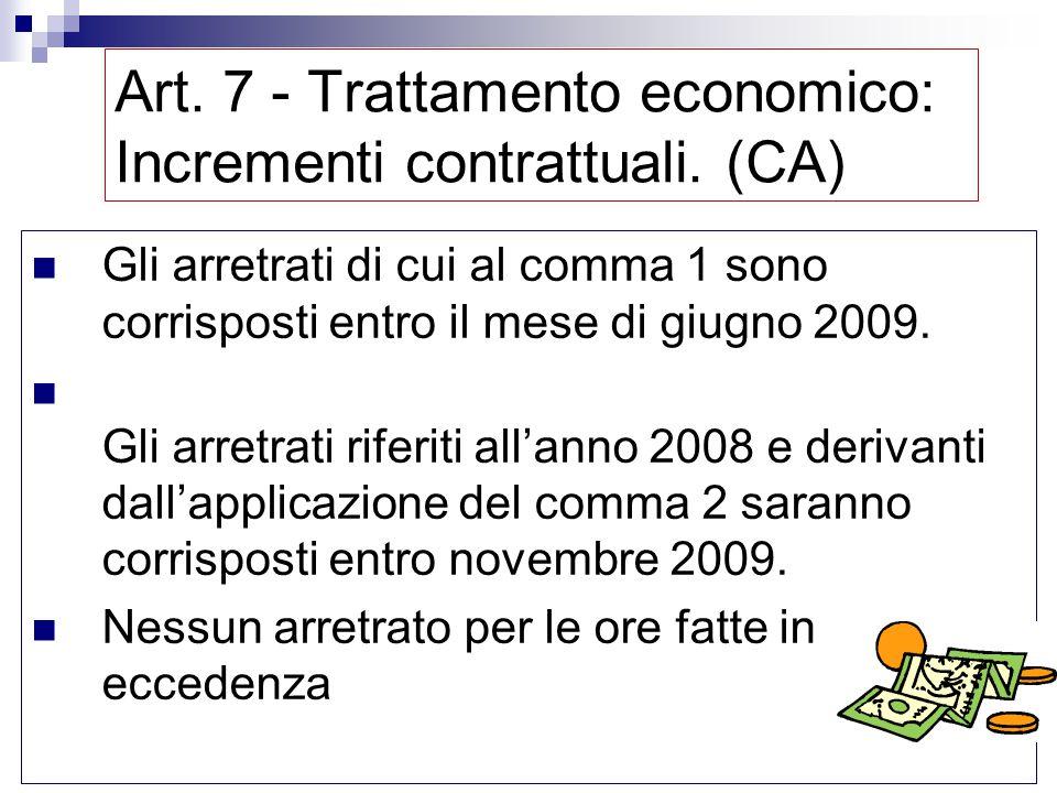 Art. 7 - Trattamento economico: Incrementi contrattuali. (CA) Per un medico di CA a 24 ore settimanali (pari a 1248 ore annue) spettano al lordo per i