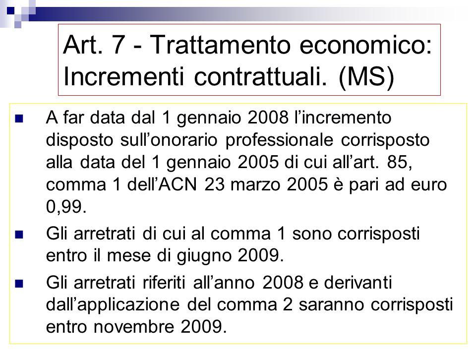 Art. 7 - Trattamento economico: Incrementi contrattuali. (MS) per ciascuno degli anni 2006 e 2007 un compenso una tantum, per ogni ora di attività svo