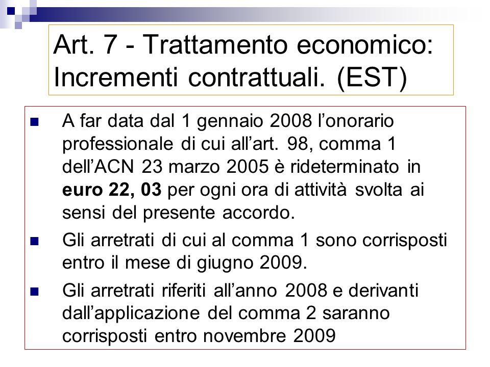Art. 7 - Trattamento economico: Incrementi contrattuali. (EST) compenso una tantum, per ogni ora di attività svolta Arretrati anno 2006 > 0,08 €/ora A