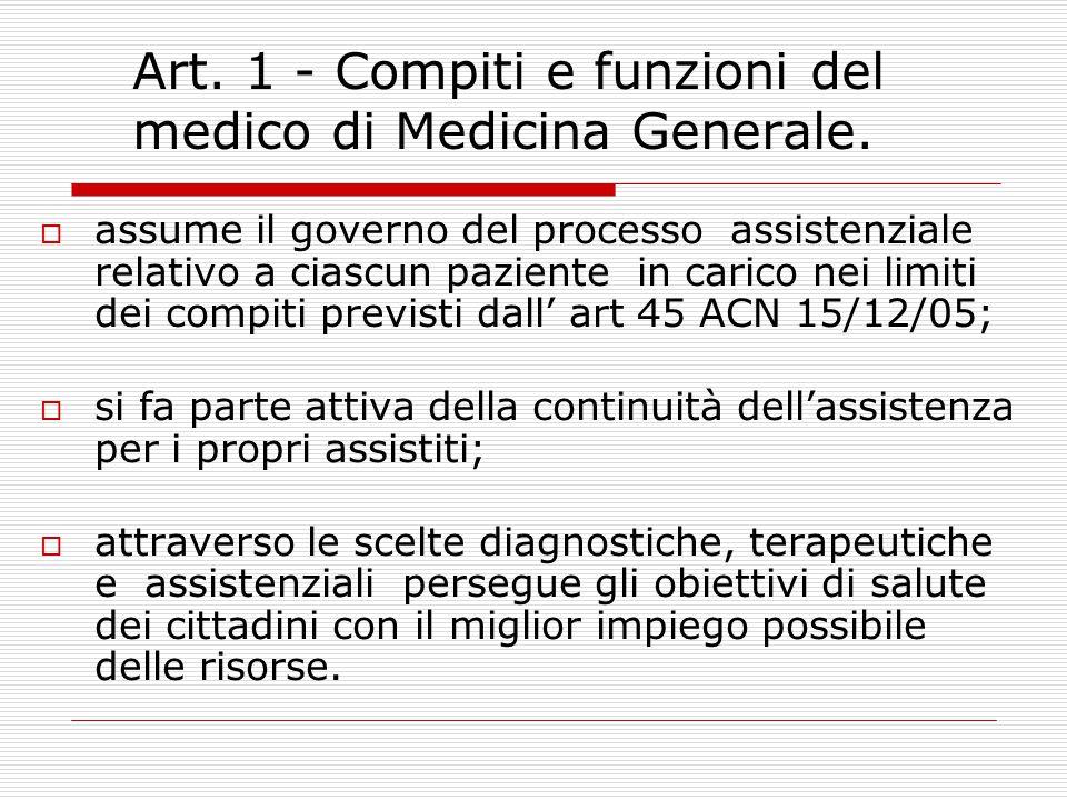 Art.1 - Compiti e funzioni del medico di Medicina Generale.