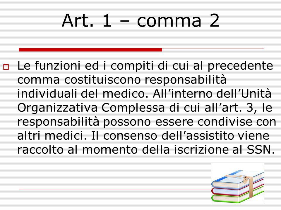 Art. 1 - Compiti e funzioni del medico di Medicina Generale.  assume il governo del processo assistenziale relativo a ciascun paziente in carico nei