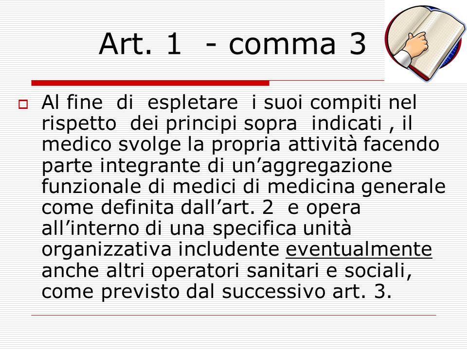 Art. 1 – comma 2  Le funzioni ed i compiti di cui al precedente comma costituiscono responsabilità individuali del medico. All'interno dell'Unità Org