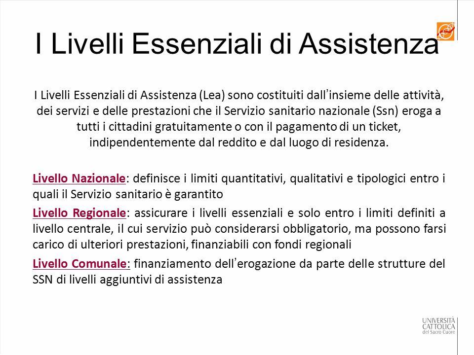 I Livelli Essenziali di Assistenza I Livelli Essenziali di Assistenza (Lea) sono costituiti dall'insieme delle attività, dei servizi e delle prestazio