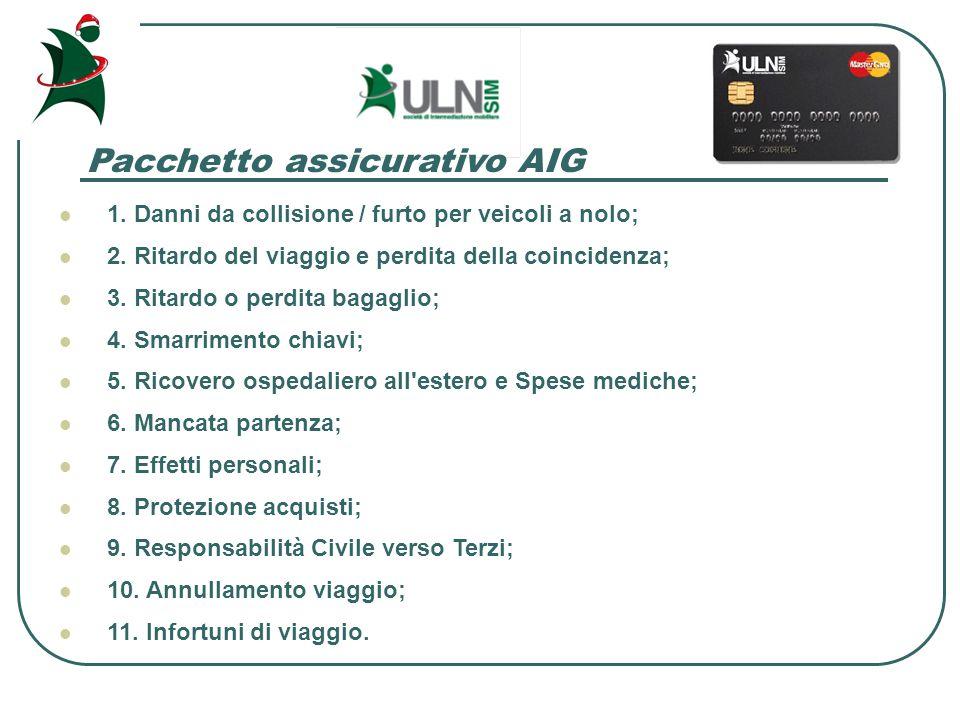 Pacchetto assicurativo AIG 1. Danni da collisione / furto per veicoli a nolo; 2.