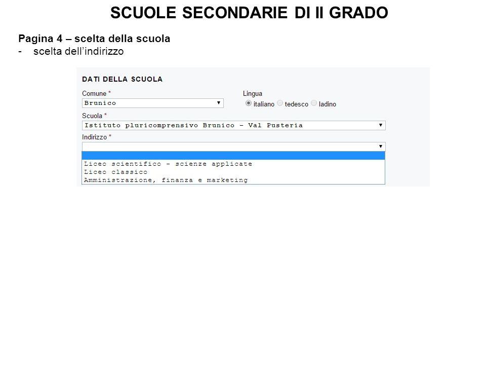 Pagina 4 – scelta della scuola -scelta dell'indirizzo SCUOLE SECONDARIE DI II GRADO