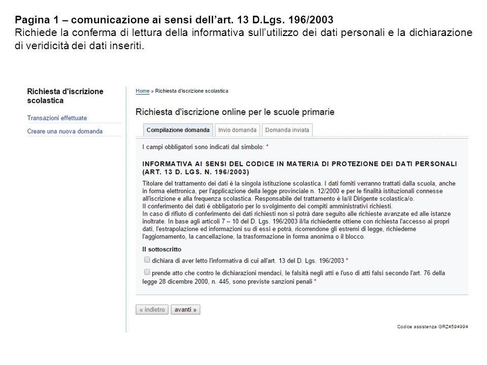 Pagina 1 – comunicazione ai sensi dell'art. 13 D.Lgs.