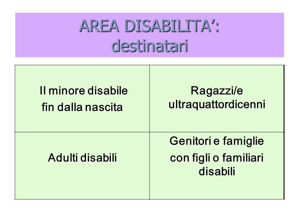 AREA DISABILITA': destinatari Il minore disabile Il minore disabile fin dalla nascita Ragazzi/e ultraquattordicenni Adulti disabili Genitori e famigli