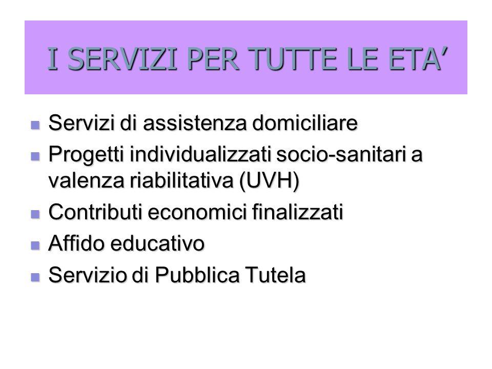 I SERVIZI PER TUTTE LE ETA' Servizi di assistenza domiciliare Servizi di assistenza domiciliare Progetti individualizzati socio-sanitari a valenza ria
