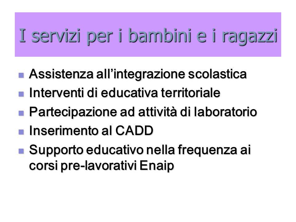 I servizi per i bambini e i ragazzi Assistenza all'integrazione scolastica Assistenza all'integrazione scolastica Interventi di educativa territoriale