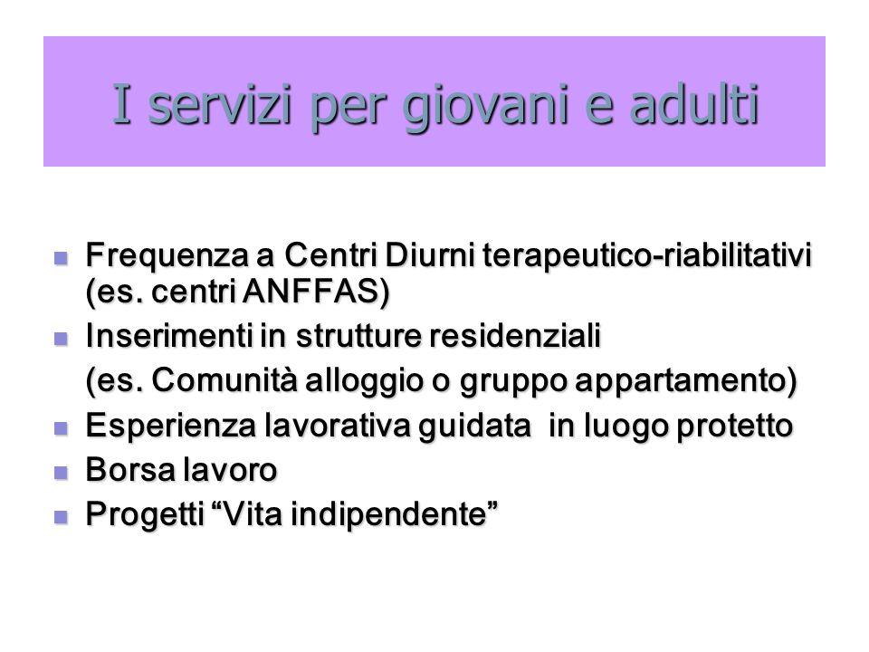 I servizi per giovani e adulti Frequenza a Centri Diurni terapeutico-riabilitativi (es. centri ANFFAS) Frequenza a Centri Diurni terapeutico-riabilita