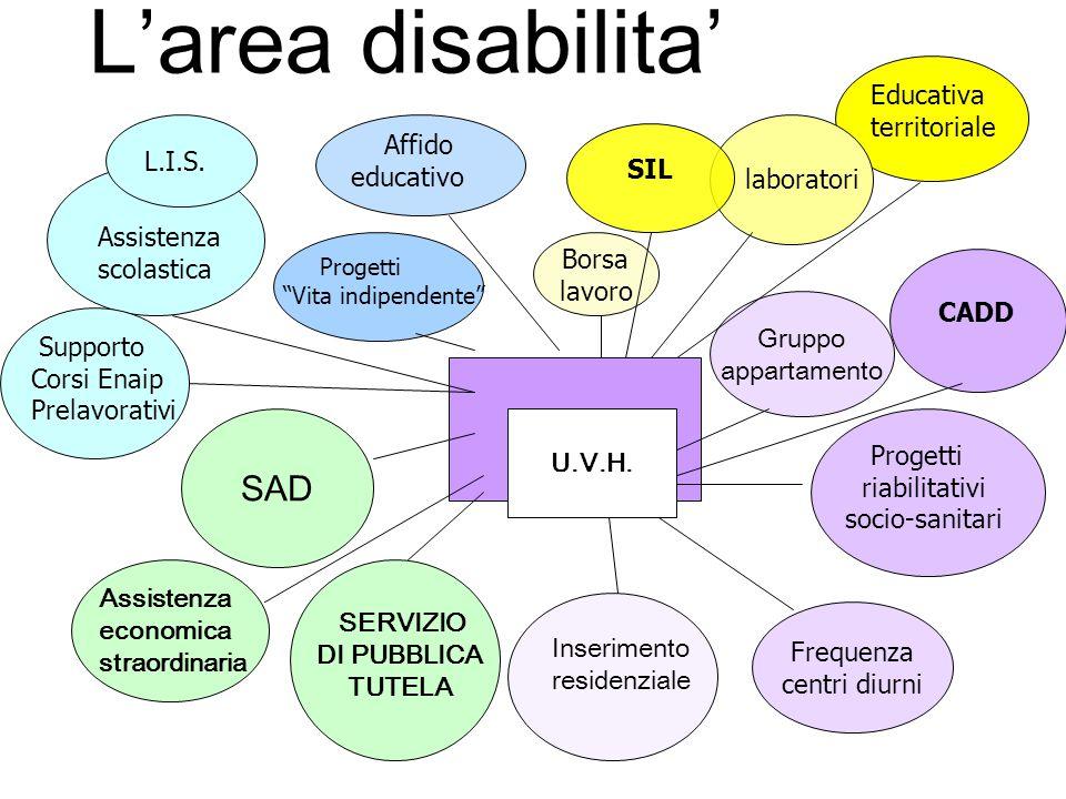 Gruppo appartamento SAD Frequenza centri diurni U.V.H. Inserimento residenziale Progetti riabilitativi socio-sanitari Assistenza economica straordinar
