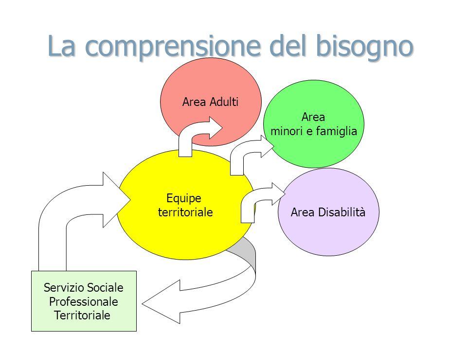 La comprensione del bisogno Area minori e famiglia Servizio Sociale Professionale Territoriale Equipe territoriale Area Disabilità Area Adulti