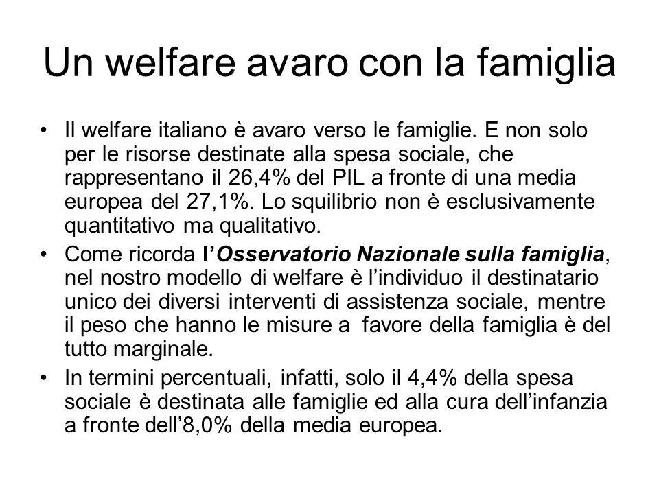 Un welfare avaro con la famiglia Il welfare italiano è avaro verso le famiglie.
