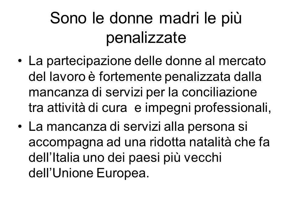 Sono le donne madri le più penalizzate La partecipazione delle donne al mercato del lavoro è fortemente penalizzata dalla mancanza di servizi per la conciliazione tra attività di cura e impegni professionali, La mancanza di servizi alla persona si accompagna ad una ridotta natalità che fa dell'Italia uno dei paesi più vecchi dell'Unione Europea.