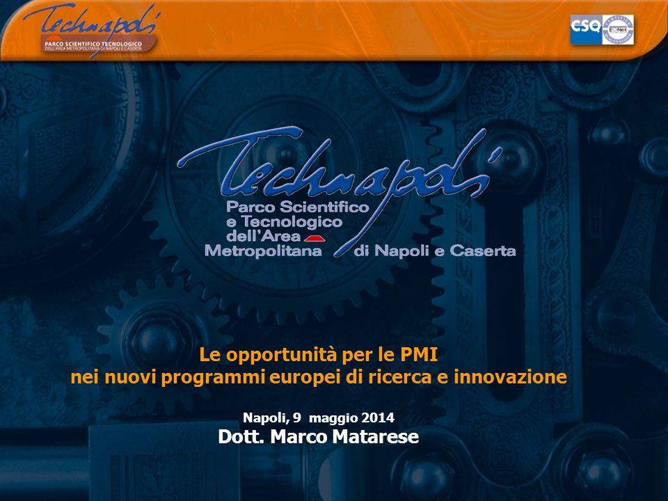 Le opportunità per le PMI nei nuovi programmi europei di ricerca e innovazione Napoli, 9 maggio 2014 Dott.