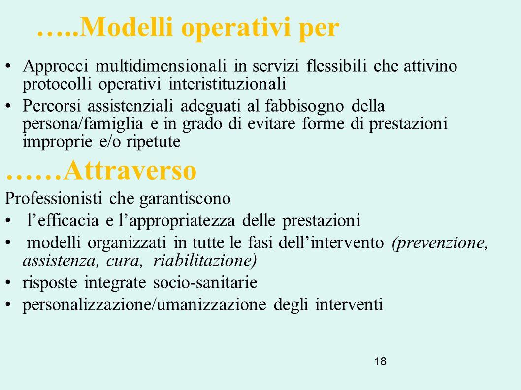 18 …..Modelli operativi per Approcci multidimensionali in servizi flessibili che attivino protocolli operativi interistituzionali Percorsi assistenzia