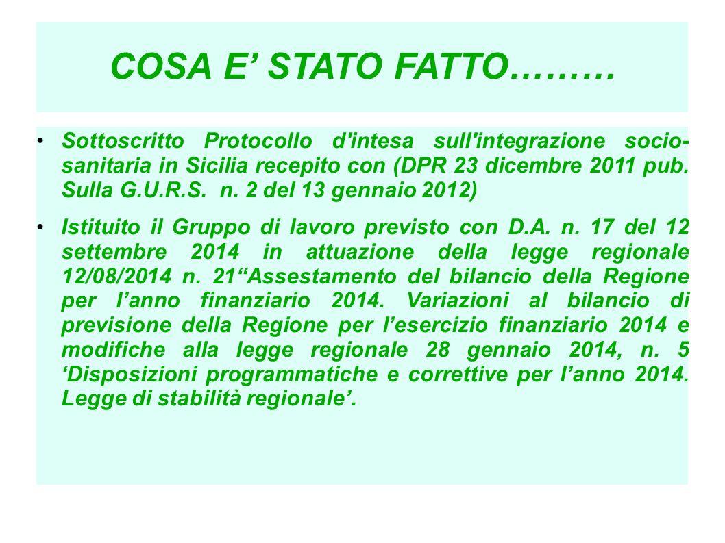 COSA E' STATO FATTO……… Sottoscritto Protocollo d'intesa sull'integrazione socio- sanitaria in Sicilia recepito con (DPR 23 dicembre 2011 pub. Sulla G.