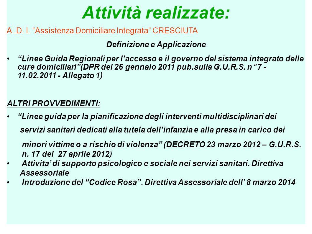 """Attività realizzate: A.D. I. """"Assistenza Domiciliare Integrata"""" CRESCIUTA Definizione e Applicazione """"Linee Guida Regionali per l'accesso e il governo"""