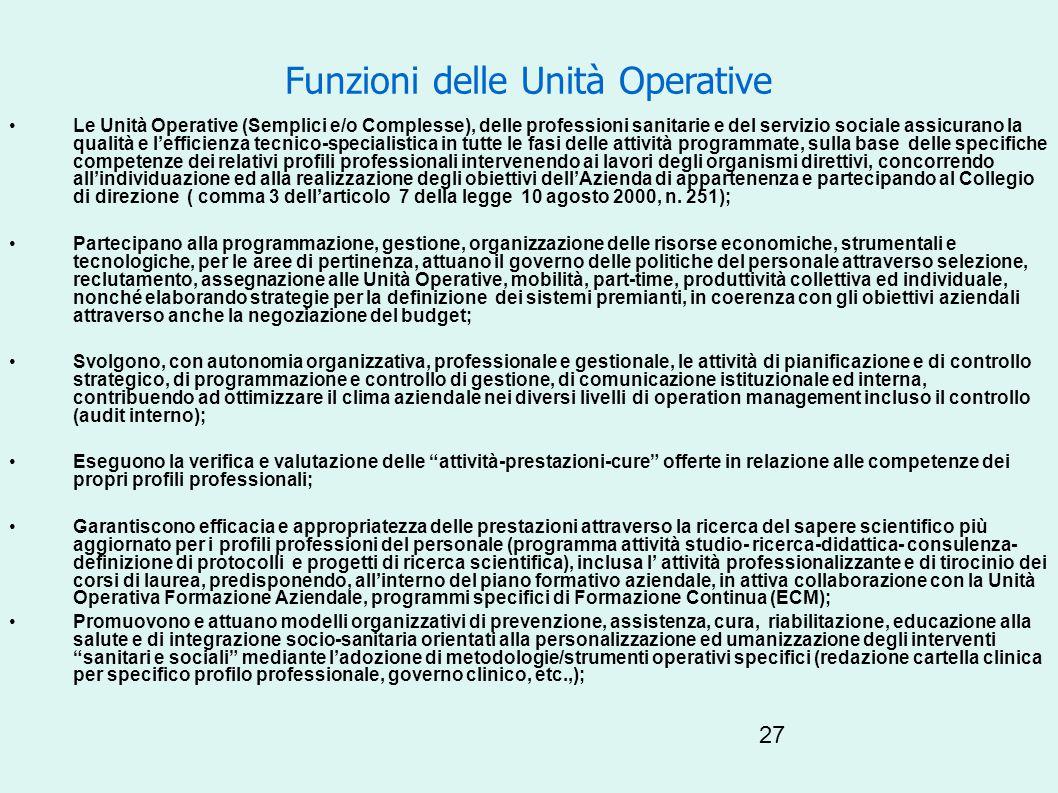 27 Funzioni delle Unità Operative Le Unità Operative (Semplici e/o Complesse), delle professioni sanitarie e del servizio sociale assicurano la qualit