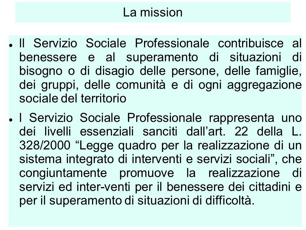 3 La mission ll Servizio Sociale Professionale contribuisce al benessere e al superamento di situazioni di bisogno o di disagio delle persone, delle f