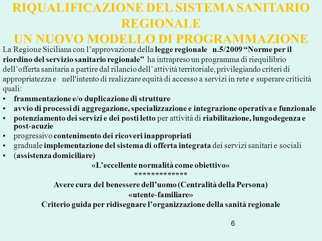 6 RIQUALIFICAZIONE DEL SISTEMA SANITARIO REGIONALE UN NUOVO MODELLO DI PROGRAMMAZIONE La Regione Siciliana con l'approvazione della legge regionale n.