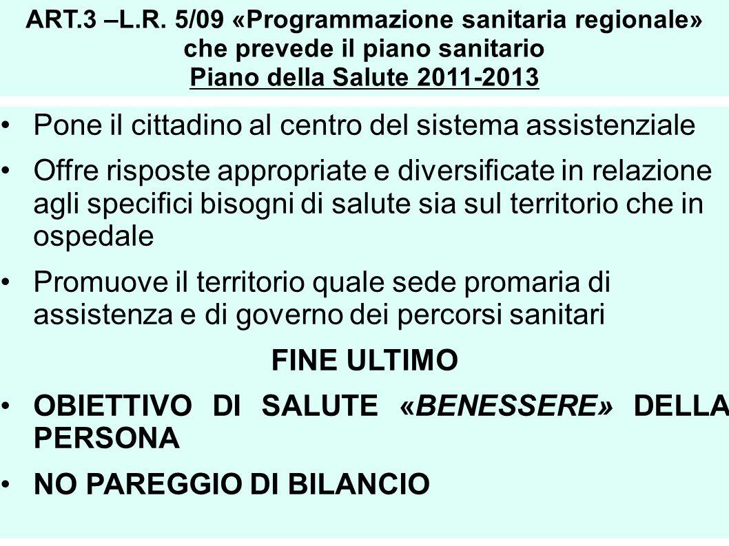 ART.3 –L.R. 5/09 «Programmazione sanitaria regionale» che prevede il piano sanitario Piano della Salute 2011-2013 Pone il cittadino al centro del sist