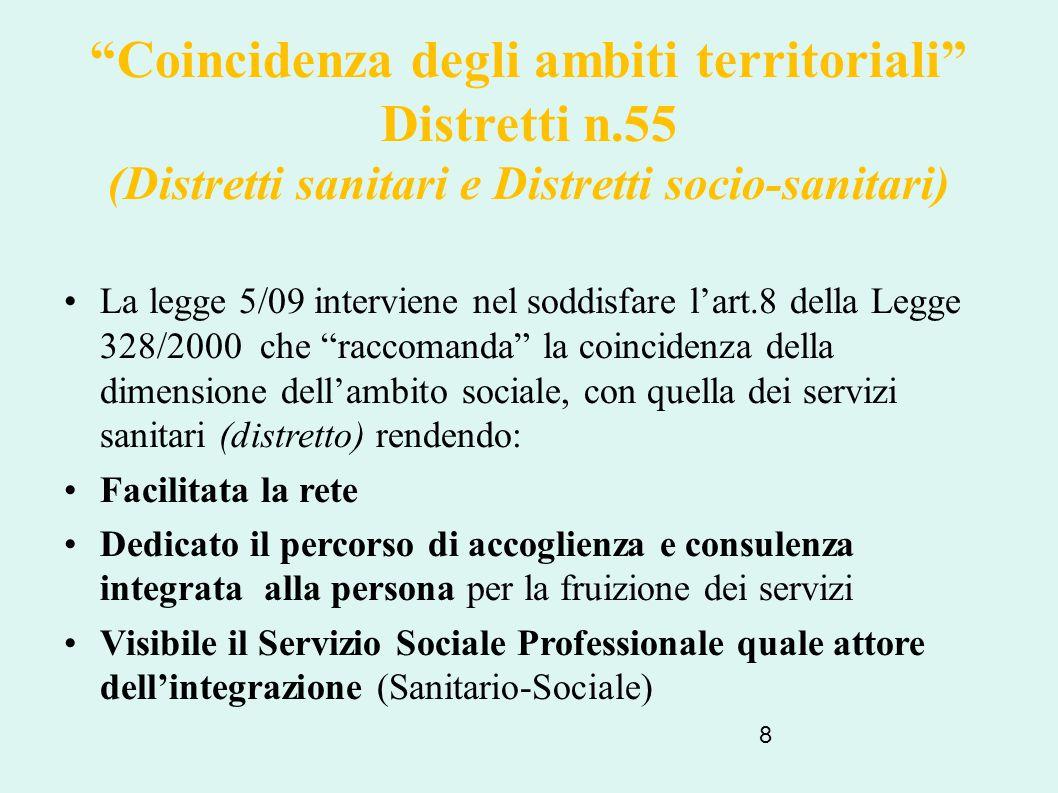 """8 """"Coincidenza degli ambiti territoriali"""" Distretti n.55 (Distretti sanitari e Distretti socio-sanitari) La legge 5/09 interviene nel soddisfare l'art"""