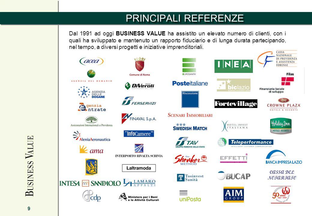 PRINCIPALI REFERENZE 9 Dal 1991 ad oggi BUSINESS VALUE ha assistito un elevato numero di clienti, con i quali ha sviluppato e mantenuto un rapporto fiduciario e di lunga durata partecipando, nel tempo, a diversi progetti e iniziative imprenditoriali.