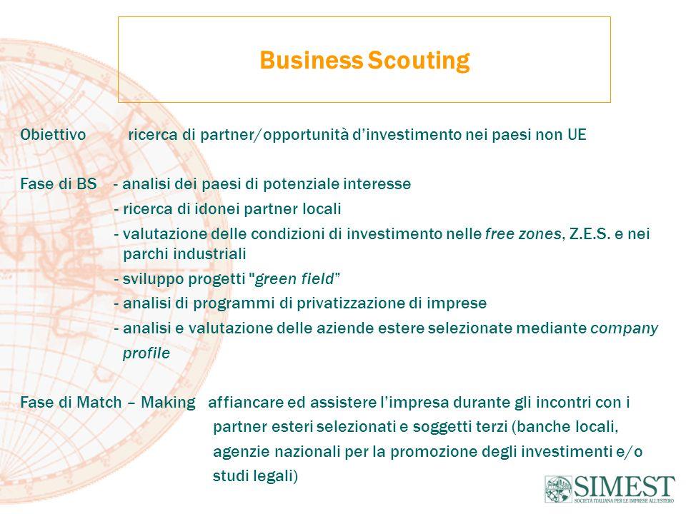 Business Scouting Obiettivo ricerca di partner/opportunità d'investimento nei paesi non UE Fase di BS - analisi dei paesi di potenziale interesse - ricerca di idonei partner locali - valutazione delle condizioni di investimento nelle free zones, Z.E.S.