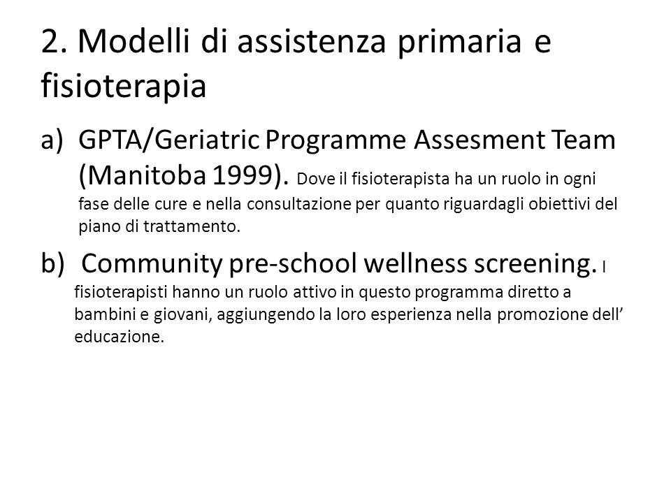 2. Modelli di assistenza primaria e fisioterapia a)GPTA/Geriatric Programme Assesment Team (Manitoba 1999). Dove il fisioterapista ha un ruolo in ogni