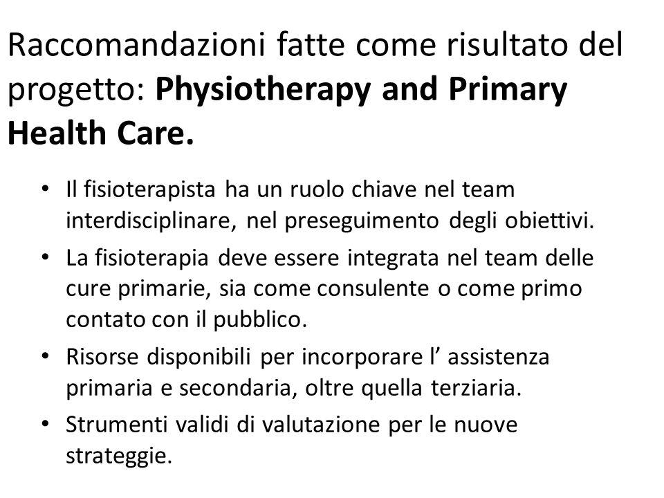 Raccomandazioni fatte come risultato del progetto: Physiotherapy and Primary Health Care. Il fisioterapista ha un ruolo chiave nel team interdisciplin