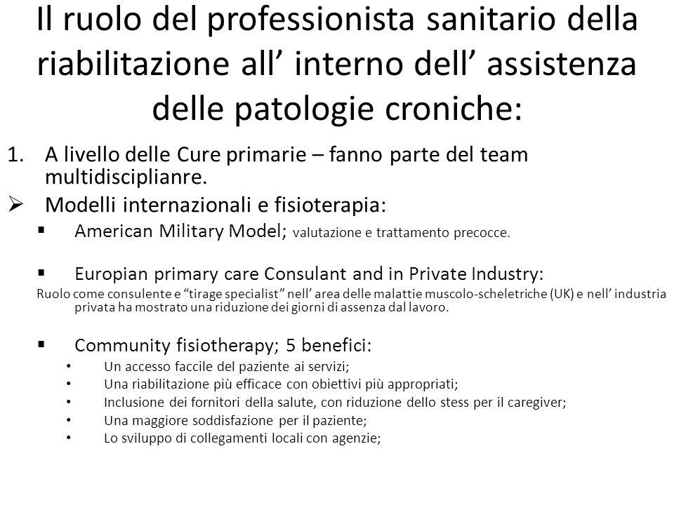 Il ruolo del professionista sanitario della riabilitazione all' interno dell' assistenza delle patologie croniche: 1.A livello delle Cure primarie – f