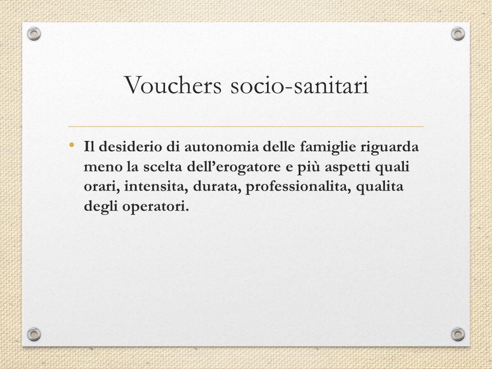 Vouchers socio-sanitari Il desiderio di autonomia delle famiglie riguarda meno la scelta dell'erogatore e più aspetti quali orari, intensita, durata, professionalita, qualita degli operatori.