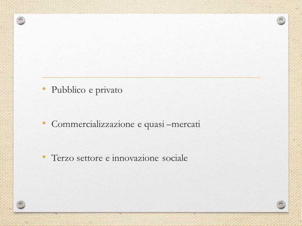 Pubblico e privato Commercializzazione e quasi –mercati Terzo settore e innovazione sociale
