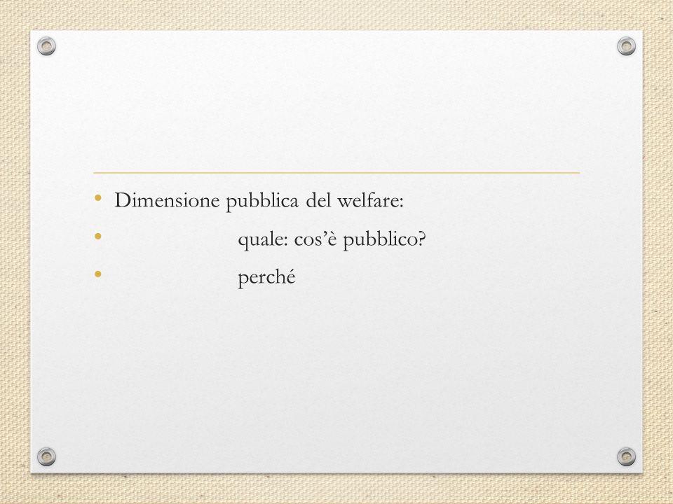 Dimensione pubblica del welfare: quale: cos'è pubblico perché