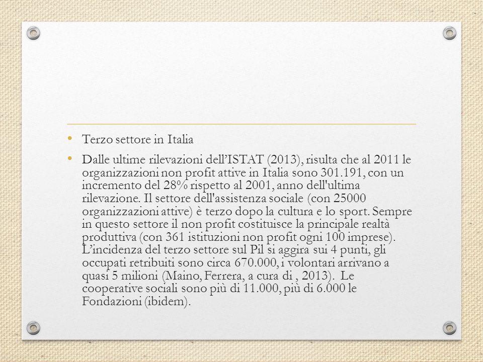 Terzo settore in Italia Dalle ultime rilevazioni dell'ISTAT (2013), risulta che al 2011 le organizzazioni non profit attive in Italia sono 301.191, con un incremento del 28% rispetto al 2001, anno dell ultima rilevazione.