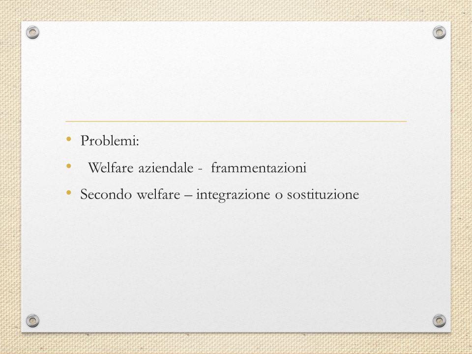 Problemi: Welfare aziendale - frammentazioni Secondo welfare – integrazione o sostituzione