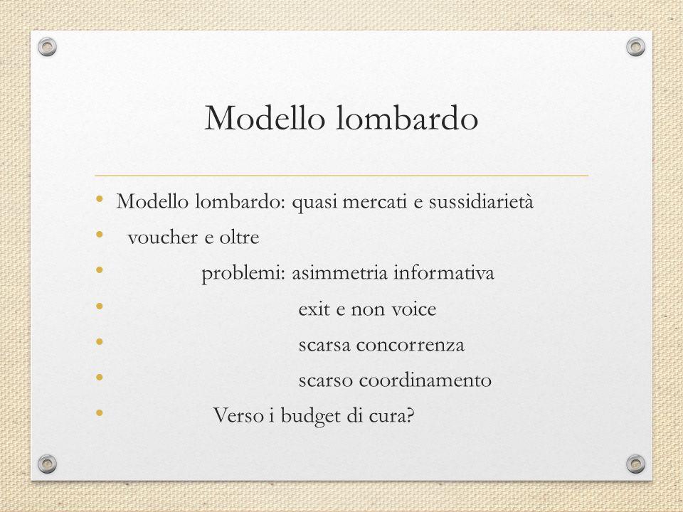 Modello lombardo Modello lombardo: quasi mercati e sussidiarietà voucher e oltre problemi: asimmetria informativa exit e non voice scarsa concorrenza scarso coordinamento Verso i budget di cura