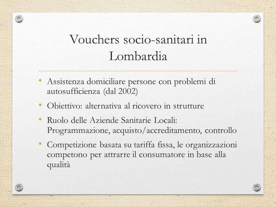 Alcuni dati Il valore del voucher socio-sanitario è collegato alla complessità e all intensità degli interventi di assistenza necessari.